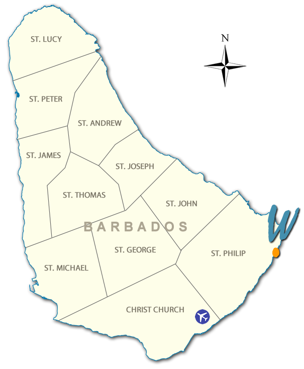 map of barbados wavecrest located lower southeast coast